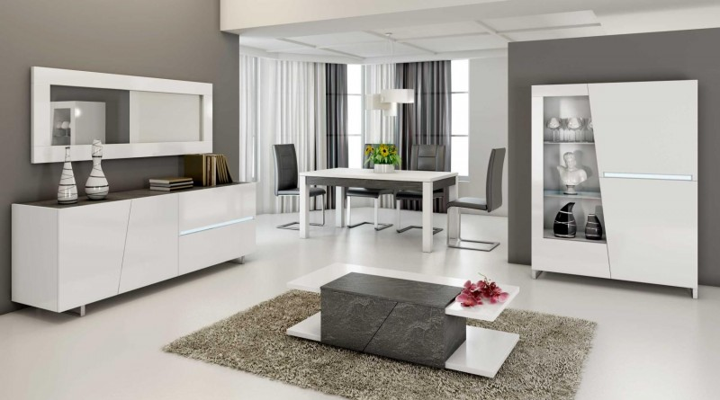 d co salle a manger blanc et noir. Black Bedroom Furniture Sets. Home Design Ideas