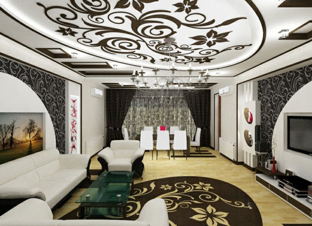 Deco plafond salon for Element decoration salon