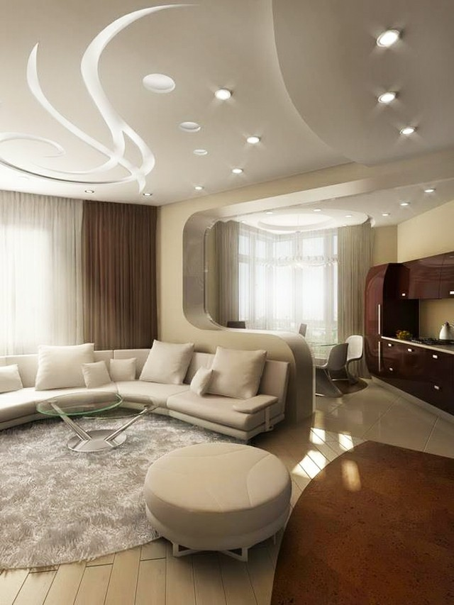 D coration plafond salon for Plafond moderne design