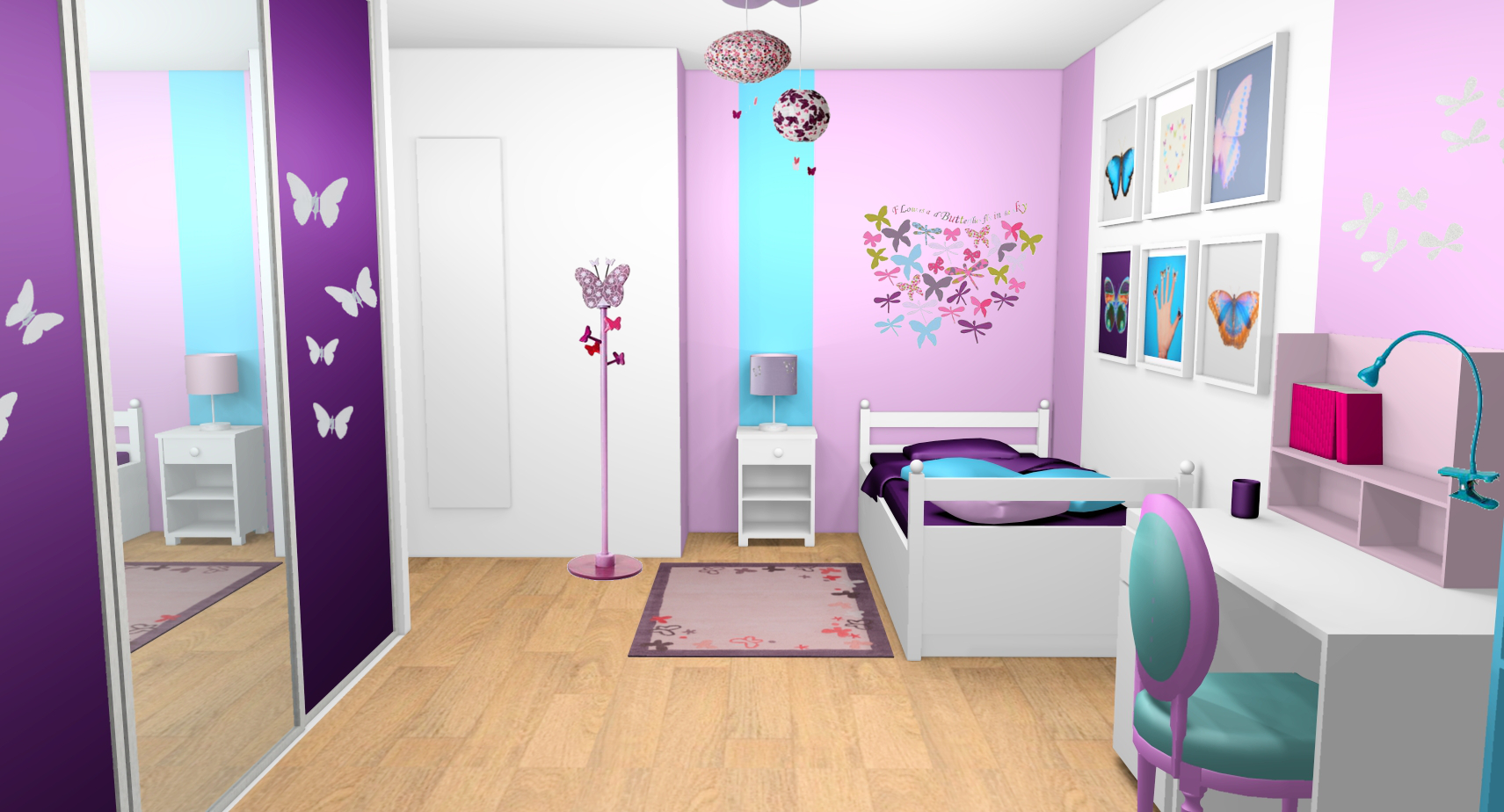 D coration chambre fille violet for Decoration chambre de fille