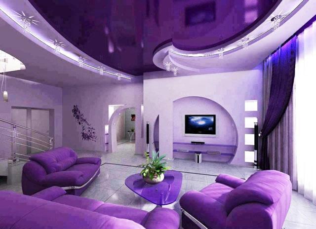 Superbe Couleur Violette Salon Moderne Faux Plafond