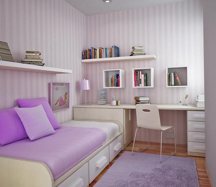 meubles bas et suspendu pour agrandir une petite chambre