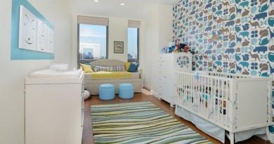 décoration-chambre-bébé-garçon-papier-peint-vintage-animaux