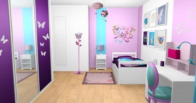 chambre-fille-violet-mauve-turquoise-papillons-bandes-peinture-1